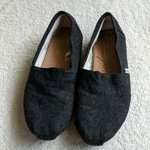 Toms Wool Faux Shearling Charcoal Grey Slip Ons